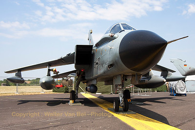 """This German Air Force Tornado IDS(T) (45+70; cn675/GT057/4270) from TLG51, was parked in the static at Nörvenich Air Base, during the spottersday, prior to the """"Tag der Bundeswehr""""."""