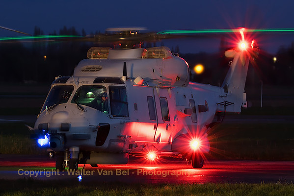 Belgian Air Force NHI NH-90NFH (RN-02; cn1041/NBEN02), busy with her pre-flight checks, during the sunset-shoot organized by 1Wing at Beauvechain Air Base.