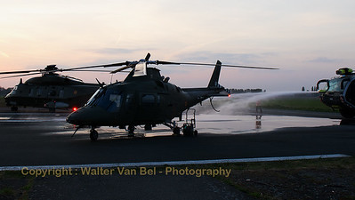 A Belgian Army Agusta A-109BA (H31; cn0331) shares the platform with a Belgian Air Force NHI NH-90 TTH (RN-08; cn1305/TBEA04), which is being prepared for the sunset-spottersday, on the eve before the Belgian Helidays 2017.