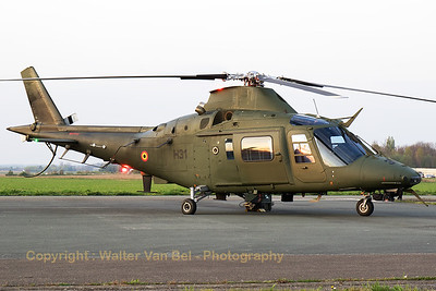 A Belgian Army Agusta A-109BA (H31; cn0331), being prepared for the sunset-spottersday, on the eve before the Belgian Helidays 2017.