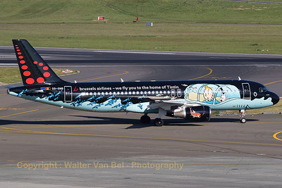 """Brussels Airlines Airbus A320-214 (OO-SNB; MSN1493), wearing the splendid c/s """"TinTin"""", taxiing out to the active RWY at Brussels Airport."""