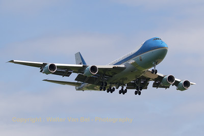 USAF Boeing VC-25A (92-9000) from 89th Airlift Wing, on final for RWY25R at EBBR (in support of the NATO Meeting with President Trump).