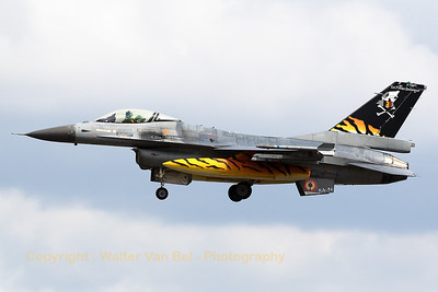 "Belgian Air Force F-16AM (FA-94; cn6H-94) from 31 ""Tigers""-Sqn, is seen here performing a low-pass above Geilenkirchen AFB in order to show her recent new c/s for the 2017 NTM. Unfortunately, the special c/s stickers already show damage due to the extensive flying over the past weeks."