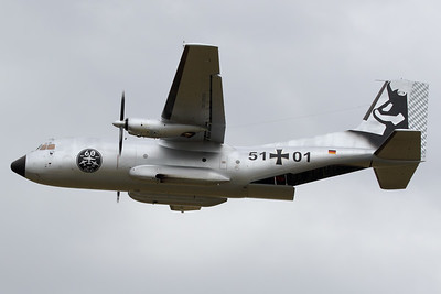 """A German Air Force Transall C-160D (51+01; msnD138) from LTG61 at Landsberg-Lech Air Base, performs an overshoot at Geilenkirchen Air Base, prior to landing, during the spottersday for the celebration of """"35 Years NATO E-3A Component""""."""