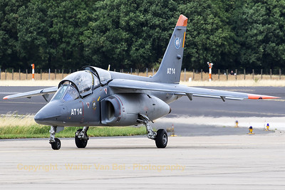 "Belgian Air Force Alpha Jet 1B+ (AT14; cnB14/1043) - from 11Sqn/AJeTS based at Cazaux (France) - on the taxitrack at Geilenkirchen Air Base, during the spottersday for the celebration of ""35 Years NATO E-3A Component""."