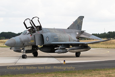 """Hellenic Air Force F-4E AUP Phantom II (71750; cn 5016) from 339MPK, poses nicely in front of the photographers at Geilenkirchen Air Base, during the spottersday for the celebration of """"35 Years NATO E-3A Component""""."""