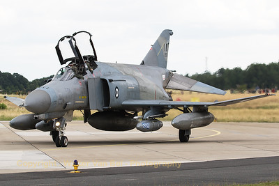 """Hellenic Air Force F-4E AUP Phantom II (01501; cn 4443) from 339MPK """"AIAS"""" (Ajax) at Andravida, poses nicely in front of the photographers at Geilenkirchen Air Base, during the spottersday for the celebration of """"35 Years NATO E-3A Component""""."""