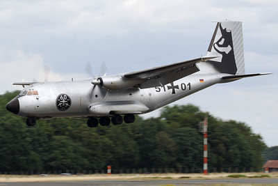 """A German Air Force Transall C-160D (51+01; msnD138) from LTG61 at Landsberg-Lech Air Base, about to land on RWY27 at Geilenkirchen Air Base, during the spottersday for the celebration of """"35 Years NATO E-3A Component""""."""