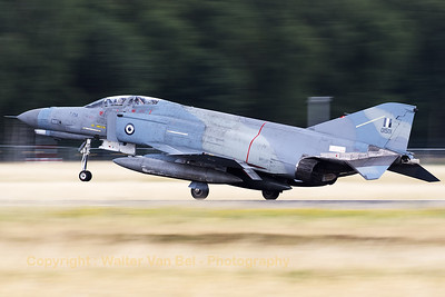 "Hellenic Air Force F-4E AUP Phantom II (01501; cn 4443) from 339MPK, ejects the drogue parachute that will extract the main drag-chute to help it slow down on RWY27 at Geilenkirchen Air Base, during the spottersday for the celebration of ""35 Years NATO E-3A Component""."