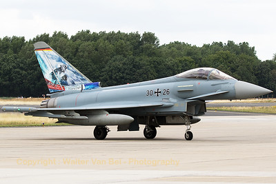 German Air Force Typhoon (30+26; cn095/GS016) - from Taktisches Luftwaffengeschwader 74 (TLG74) - posing for the camera in order to show her special c/s for the NTM2017.