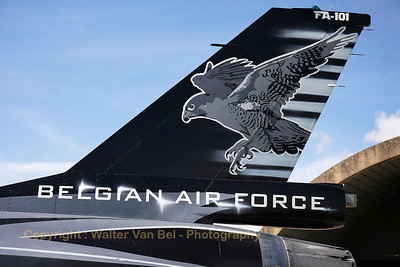 Tail close-up of this F-16AM (FA-101; cn6H-101), proudly showing the new colours of the Belgian Air Force Solo Display Team. Today, the new demo-jet was presented to the press and some lucky aviation enthousiasts!