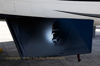 "Detail of the ventral fin of the ""Dark Falcon"", F-16AM (FA-101; cn6H-101)."