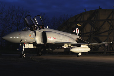 "This F-4M Phantom FGR2 (XT914; Z; MSN2771/0024) was saved from the scrap man and returned to her original home at RAF Wattisham, where she was restored and is now proudly displayed as part of the Wattisham Station Heritage Collection, in front of her HAS during ""blue hour""."