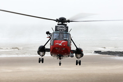 Belgian Air Force Sea King Mk48 (RS05, cnWA835), is seen here taking off from Wenduine Beach for the very last time...