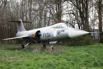 F-104G Starfighter (FX04; cn683D-9019) preserved as gate-guard at Beauvechain Air Base.