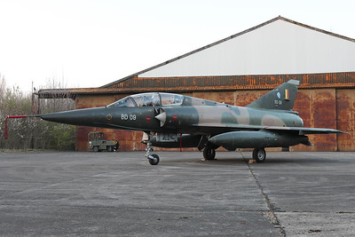 "Belgian Air Force Mirage 5BD (BD09; msn209), preserved in splendid condition at Brustem (St-Truiden). Here it can be seen in front of its hangar, during a photoshoot organized by the ""Mirage 5 BD09 Restoration Group""."