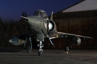 "Belgian Air Force Mirage 5BD (BD09; msn209), preserved in splendid condition at Brustem (St-Truiden). Here it can be seen during a night-photoshoot, organized by the ""Mirage 5 BD09 Restoration Group""."