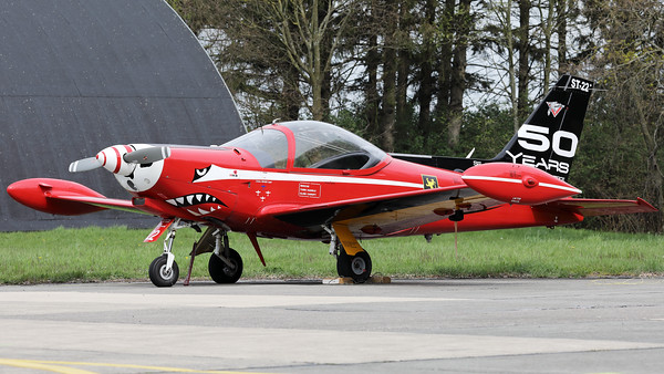 "This Belgian Air Force SF-260M+ Marchetti (ST-22+, msn10-22) - from the ""Red devils""-demo team - wears a special c/s on its tail to celebrate ""50 years of service in the Belgian Air Force""."