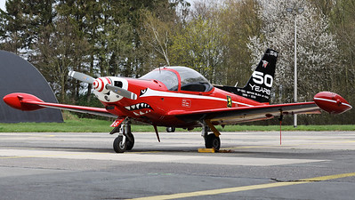 "This Belgian Air Force SF-260M+ Marchetti (ST-16+, msn10-16) - from the ""Red devils""-demo team - wears a special c/s on its tail to celebrate ""50 years of service in the Belgian Air Force""."