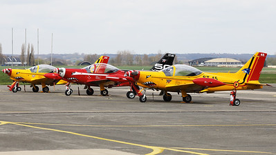 A part of the colourfull Beauvechain flightline. Closest to the camera is Belgian Air Force SF-260D Marchetti (ST-45; msn845), followed by ST-06+ and ST-26+.