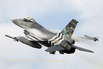 """Belgian Air Force F-16AM (FA-124; cn6H-124), with """"invasion stripes"""" as special c/s to celebrate """"75 years D-Day"""". 349 Squadron (and sister-squadron 350) found their origin during the second WW and their pilots participated during operation """"Overlord"""" in Normandy."""