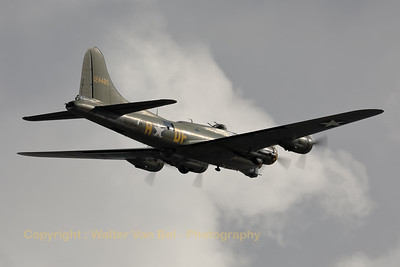 "A B-17G Flying Fortress (G-BEDF) flies above the river ""Schelde"" during the celebration of the ""75 years Liberation Days Antwerp""."