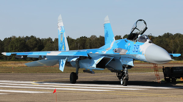 The Ukraine Air Force was again present at Kleine Brogel's spottersday, with this Su-27P (39Blue; cn36911035818), from the 831st Tactical Aviation Brigade, Air Command Centre, Ukrainian Air Force, based at Myrhorod Air Base.