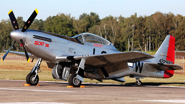 """This North American TF-51D """"Mustang"""" (reg: OO-RYL; MSN: 122-39381; SCAT VII) with serial number 44-72922 """"Scat VII"""" is an original P-51D, which survived WWII and was transformed into a TF-51D during the early ninetees."""