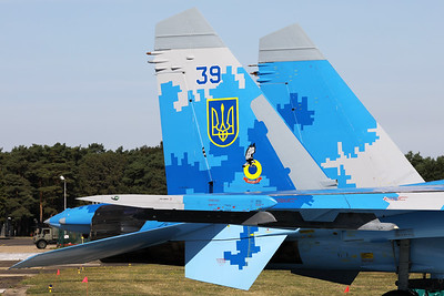 The Ukraine Air Force was again present at Kleine Brogel's spottersday, with this Su-27P (39Blue; cn36911035818), from the 831st Tactical Aviation Brigade, Air Command Centre, Ukrainian Air Force, based at Myrhorod Air Base. Here a tail close-up is shown.