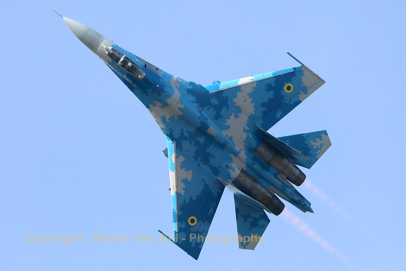 Ukraine Air Force Su-27P (39Blue; cn36911035818), from the 831st Tactical Aviation Brigade, Air Command Centre, Ukrainian Air Force, based at Myrhorod Air Base.