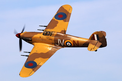 """Hawker Hurricane Mk.IV (OO-HUR; KZ321), in the colours of RAF 6th Squadron (""""The Flying Tin Openers"""") and RAF-serial """"KZ321"""" and code """"JV-N"""". Although its true identity is currently unknown, it's a very nice addition to the warbird community!"""