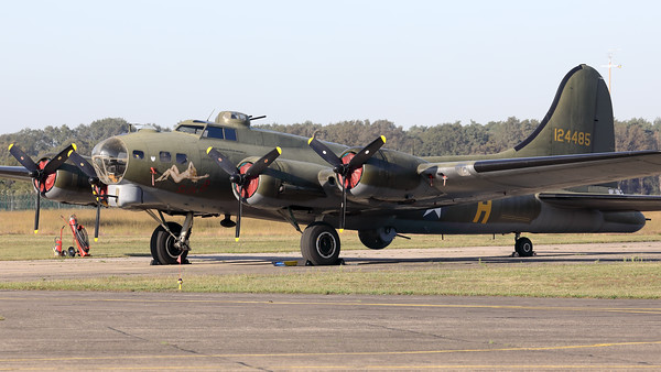 "A B-17G Flying Fortress (G-BEDF; 41-24485 / DF-A; cn 8679), parked in the static during the Kleine Brogel Spottersday. This side of the aircraft shows the c/s of ""Sally B""."