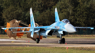 The Ukraine Air Force was again present at Kleine Brogel's spottersday, with this Su-27P (39Blue; cn36911035818), from the 831st Tactical Aviation Brigade. The Su-27P is seen here turning off the active runway, still trailing the drag-chutes.