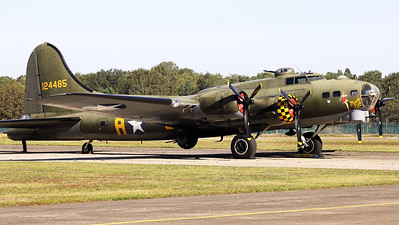 "A B-17G Flying Fortress (G-BEDF; 41-24485 / DF-A; cn 8679), parked in the static during the Kleine Brogel Spottersday. This side of the aircraft shows the c/s of ""Memphis Belle""."
