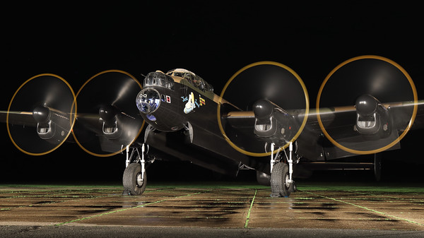 "AVRO 683 Lancaster B7 ""Just Jane"" (G-ASXX; NX611/DX-F/LE-H), seen here with engines running during a night photoshoot at the Lincolnshire Aviation Heritage Centre, East Kirkby. [TimeLine Events & COAP]"