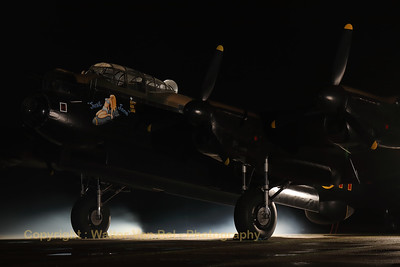 "AVRO 683 Lancaster B7 ""Just Jane"" (G-ASXX; NX611/DX-F/LE-H), seen here during a night photoshoot at the Lincolnshire Aviation Heritage Centre, East Kirkby. [TimeLine Events & COAP]"