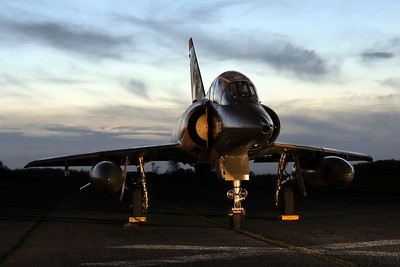"""Belgian Air Force Mirage 5BD (BD09; msn209), preserved in splendid condition at Brustem (St-Truiden). Here it can be seen positioned on a no longer used taxiway, during a night-photoshoot, organized by the """"Mirage 5 BD09 Restoration Group""""."""