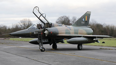 """Belgian Air Force Mirage 5BD (BD09; msn209), preserved in splendid condition at Brustem (St-Truiden). Here it can be seen with its canopy opened, positioned on a no longer used taxiway, prior to the night-photoshoot, organized by the """"Mirage 5 BD09 Restoration Group""""."""