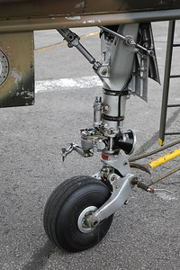 """Nose-wheel close-up of a Belgian Air Force Mirage 5BD (BD09; msn209), preserved in splendid condition at Brustem (St-Truiden). Thanks to the """"Mirage 5 BD09 Restoration Group"""" for the organization of this photoshoot!"""