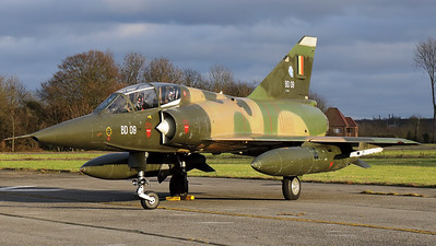 """Belgian Air Force Mirage 5BD (BD09; msn209), preserved in splendid condition at Brustem (St-Truiden). Here it can be seen positioned on a no longer used taxiway, under a late-afternoon sun, prior to the night-photoshoot, organized by the """"Mirage 5 BD09 Restoration Group""""."""