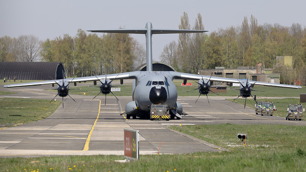 """This Belgian Air Force Airbus A400M """"Atlas"""" (CT-02; msn106) is seen here parked at Beauvechain Air Base. This aircraft provided the logistic support for the C-130 """"Hercules"""" (CH-13; msn382-4047), which arrived earlier today at EBBE in order to be put on display in the local museum."""