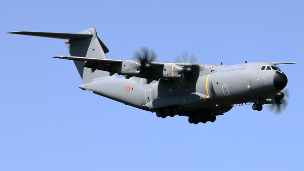 """This Belgian Air Force Airbus A400M """"Atlas"""" (CT-02; msn106) is seen here during landing on RWY04L at Beauvechain Air Base. This aircraft provided the logistic support for the C-130 """"Hercules"""" (CH-13; msn382-4047), which arrived earlier today at EBBE in order to be put on display in the local museum."""