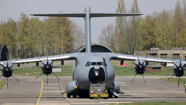 """Close-up of this Belgian Air Force Airbus A400M """"Atlas"""" (CT-02; msn106), seen here parked at Beauvechain Air Base. This aircraft provided the logistic support for the C-130 """"Hercules"""" (CH-13; msn382-4047), which arrived earlier today at EBBE in order to be put on display in the local museum."""