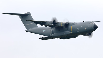 """The Luxembourg Armed Forces A400M """"Atlas"""" (CT-01; msn104) performed a nice fly-by, despite the very poor weather, during the Anniversary Spottersday to celebrate 75 Years of the Belgian Air Force. Note the cargo-ramp in open position."""