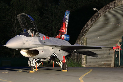 """This Belgian Air Force F-16AM (FA-86; msn6H-86) wears a splendid new c/s to celebrate """"80 years 350th Squadron"""" (Nightshoot during the """"75-Years BAF -Spottersday"""")."""