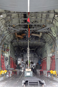"""View into the cargo-area of BAF C-130H (CH-12; msn382-4483), while parked at the static,  during the BAF """"Anniversary Spottersday"""" at Florennes Air Base."""