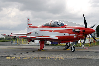 "The Swiss Air Force participated with its new PC-21s in the celebration of ""40 years Marchetti - and 300000 hrs on the type - within the Belgian Air Component"" at Beauvechain Air Base."