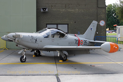 "This nice Italian SF-260EA had some nose-art applied when visiting Beauvechain AFB for the celebration of ""40 years Marchetti in the Belgian Air Force"""
