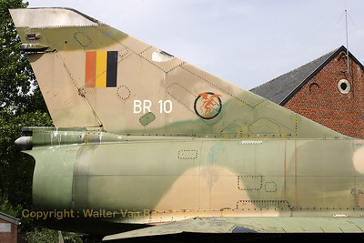 Tail close-up of this preserved Belgian Air Force Mirage 5BR, once a proud photographer herself, serving at 42Sqn at Florennes AFB.