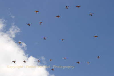 Mass formation during the celebration of 40 Years SF-260M/D Marchetti in the Belgian Air Component.